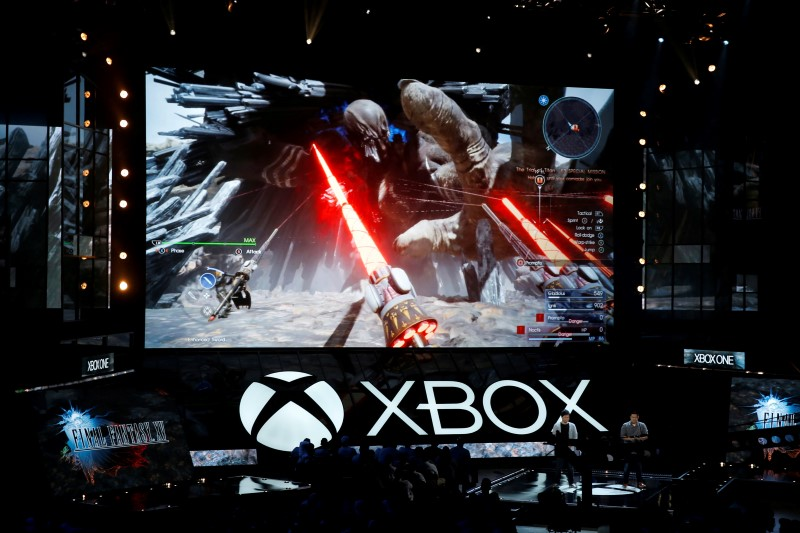 Microsoft Xbox displays Final Fantasy XV at the Xbox E3 2016 media briefing in Los Angeles, California, U.S., June 13, 2016. REUTERS/Lucy Nicholson