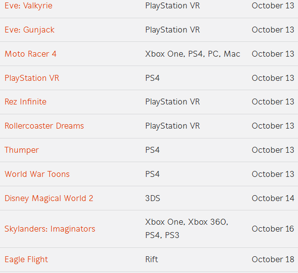 game list 09