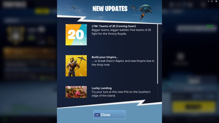 fortnite battle royale 20 player team mode