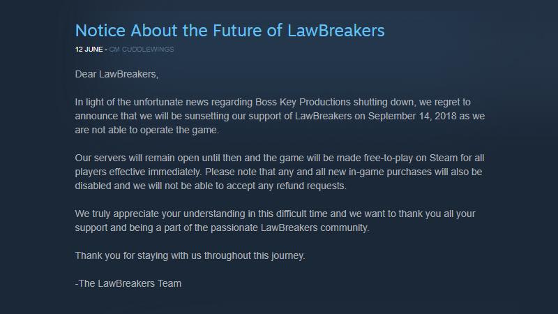 LawBreakers closure announcement