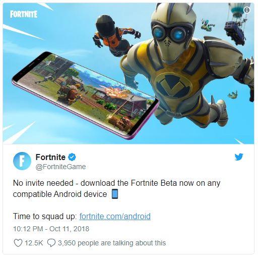 ได้เรื่อง Fortnite Mobile ออกมาประกาศสามารถเล่นบน Android ได้ทุก