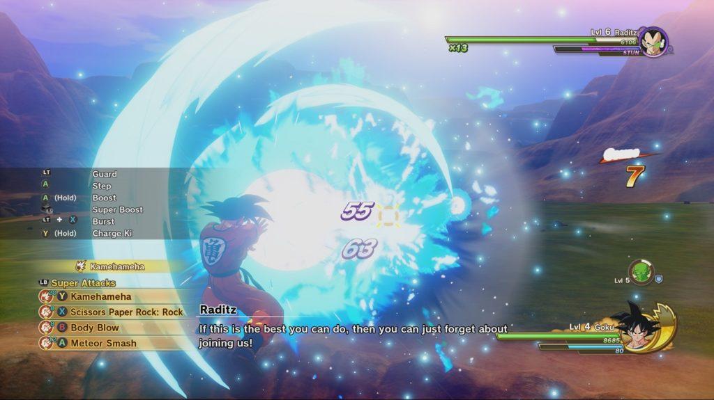 Dragon Ball Z Kakarot combat scene