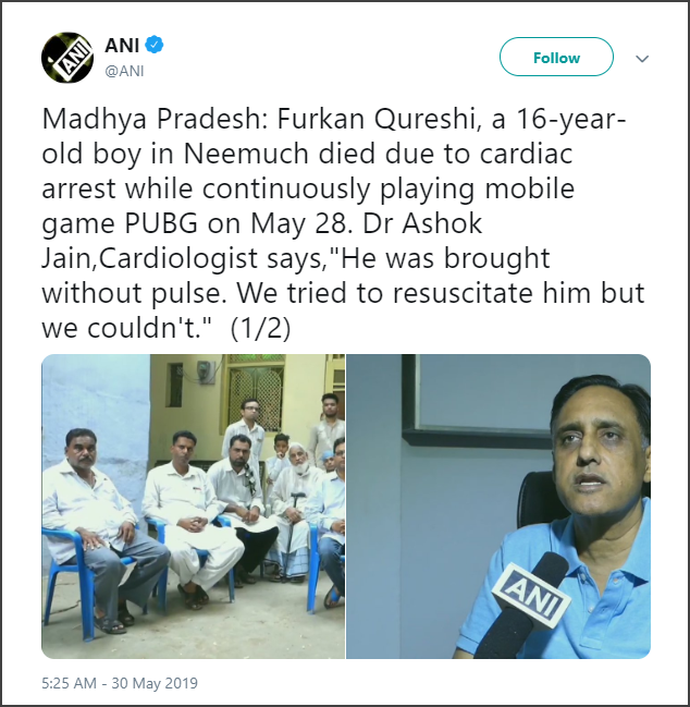 PUBG Mobile Cardiac arrest death tweet