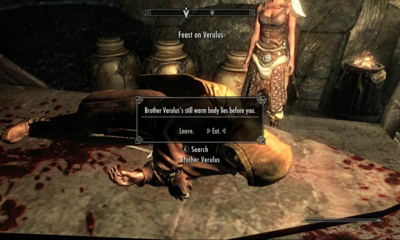 """แฟนเกม Skyrim เล่นเกมมานานกว่า 8 ปี พึ่งรู้ว่าตัวละครของตนเอง """"สามารถกินซากศพได้"""""""